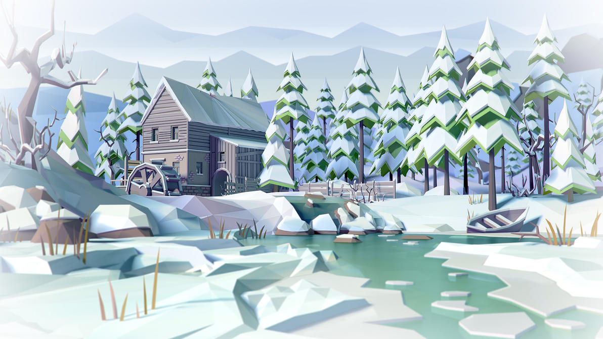 watermill in winter by prusakov