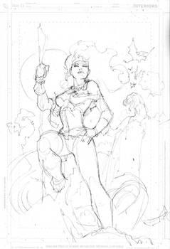 Rogue X-Men pencil layout