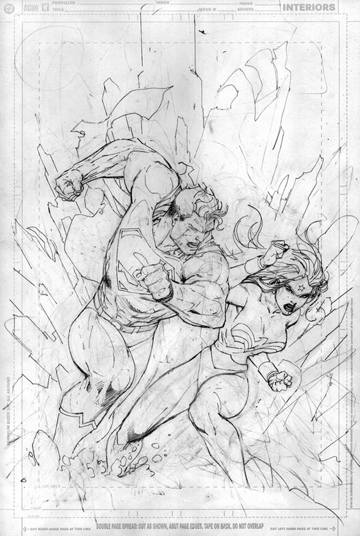 Superman 211 Cover Linework