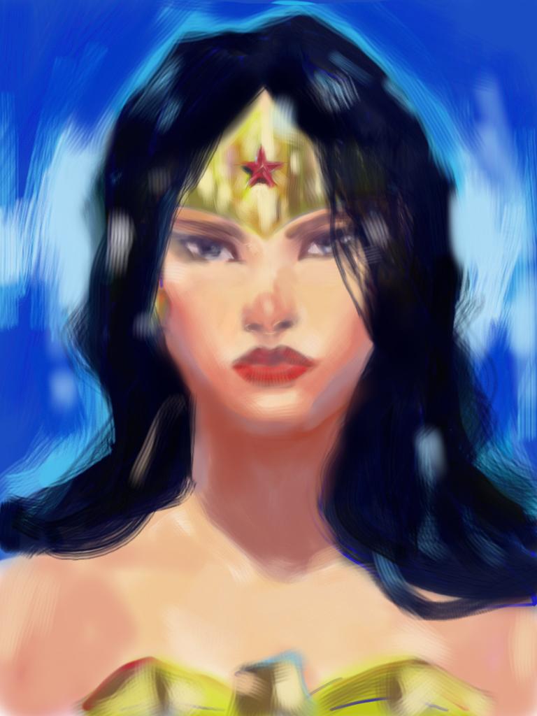 iPad sketch of Wonder Woman