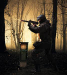 Soldier  at war in woods