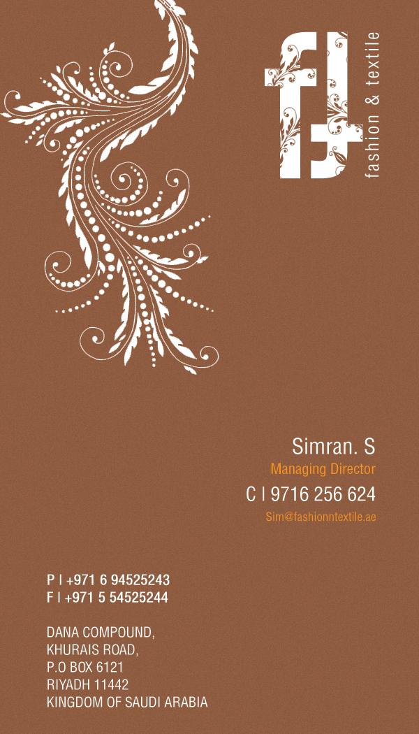 business card fashion textitle