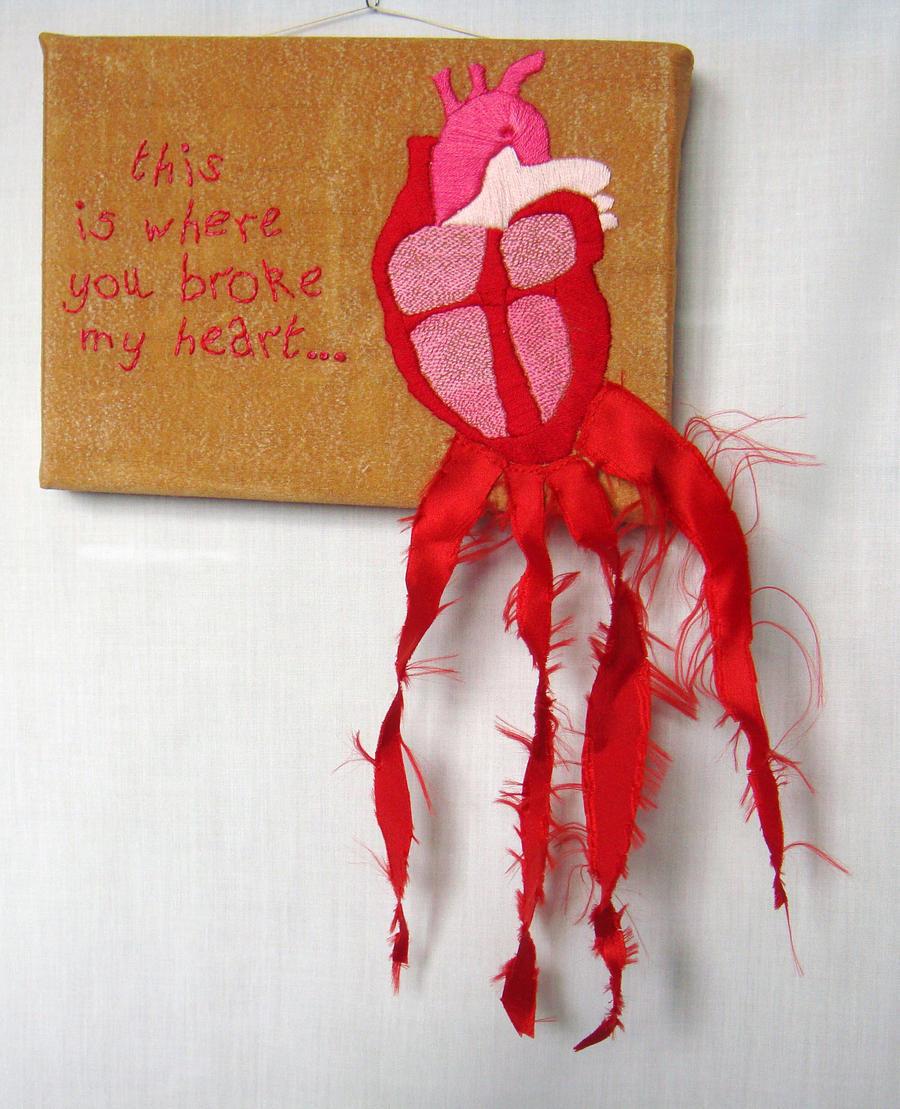 Embroidered Art - Valentine by salvagedmutiny