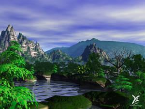 Sunny mountainous landscape