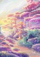 Japanese garden in morning sunrise