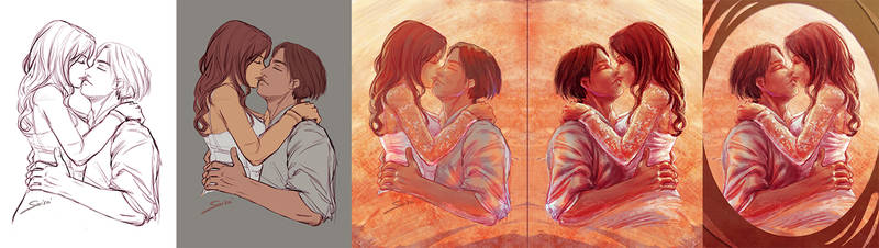 Process of the Valentine's Couple Illustration