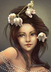 Brunette and  lily of the valley