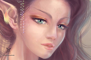 Elf of a fantasy : zoom on the portrait by yrialinsight