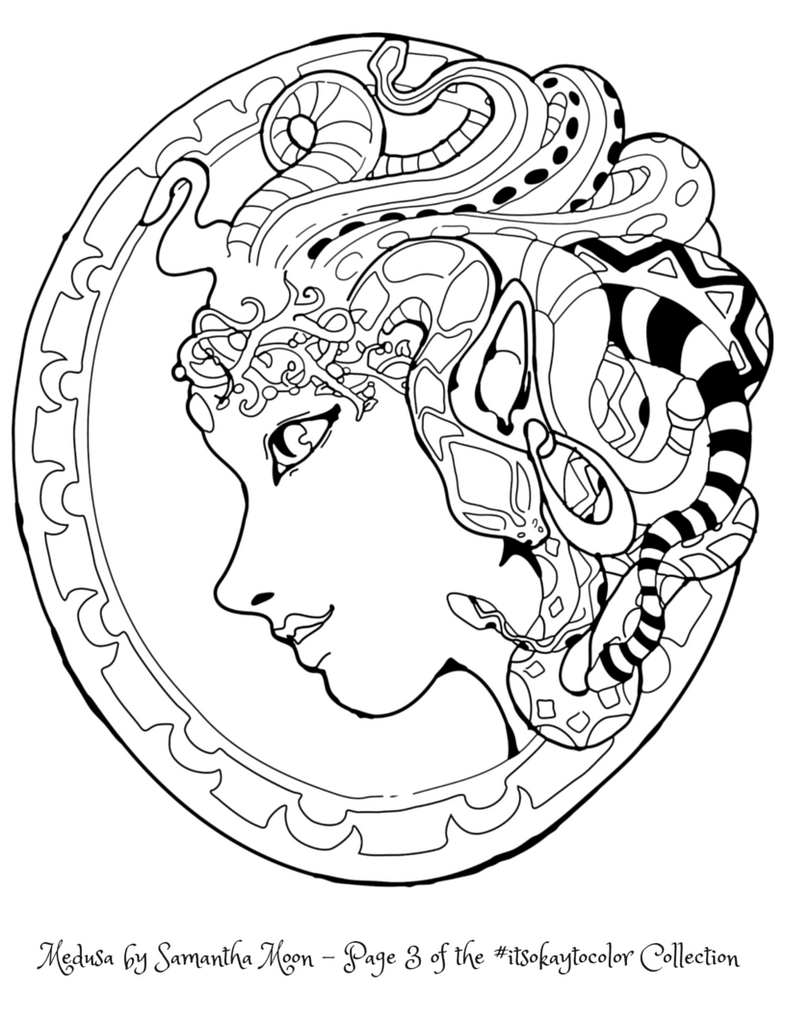 Medusa coloring coloring pages for Medusa coloring page