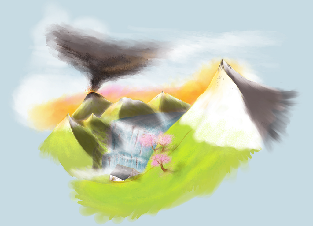 volcan et soleil levant by grospoisonaujambon