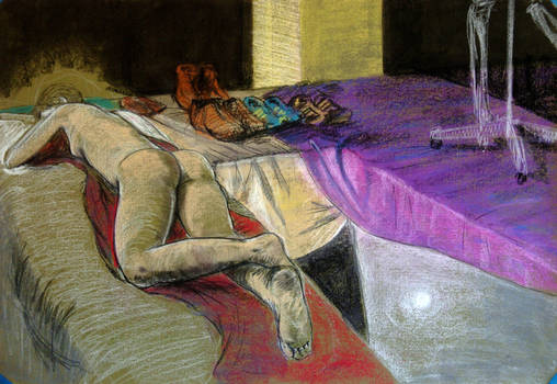 Figure drawing - nude with purple cloth by Ayzlyn