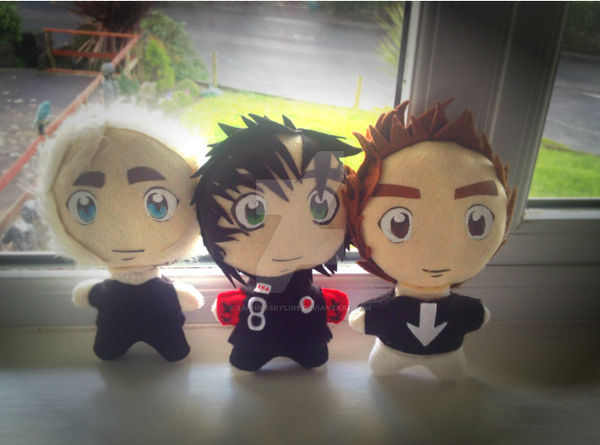 Green Day Plushies - Billie Joe, Mike, Tre by SaphireSkyline