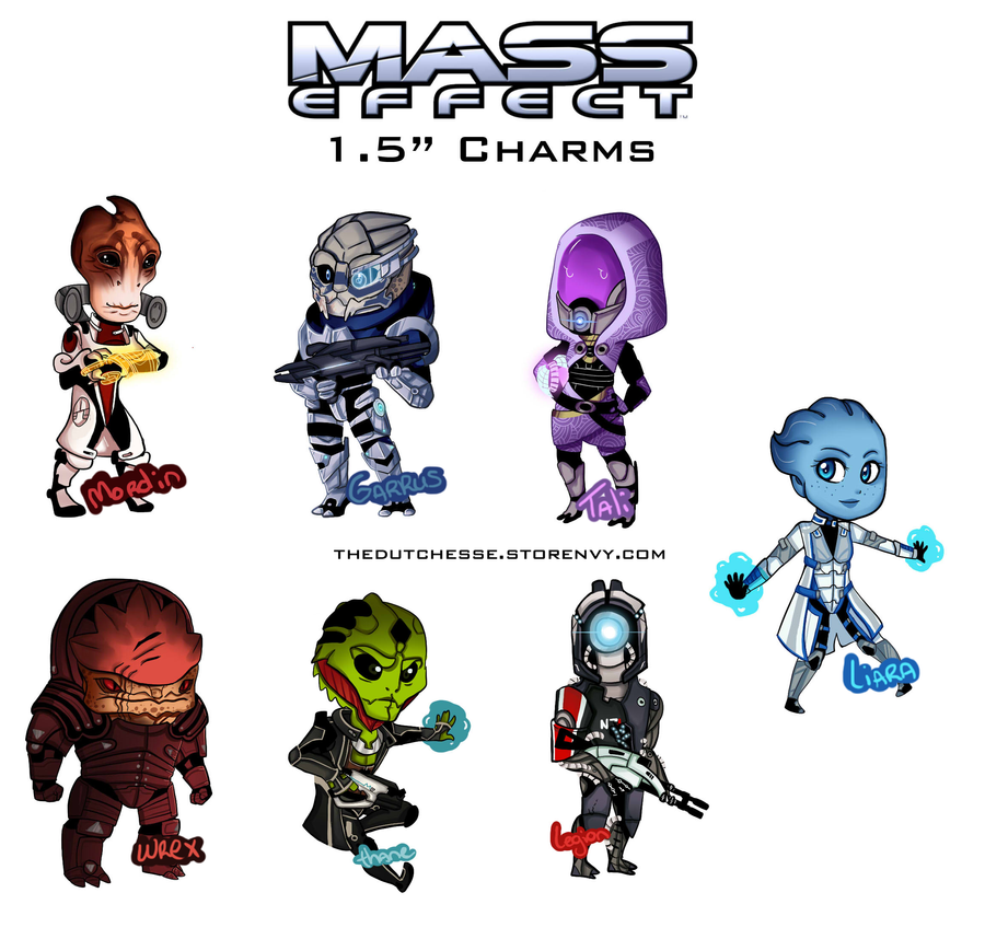 mass effect charms by thedutchesse on deviantart