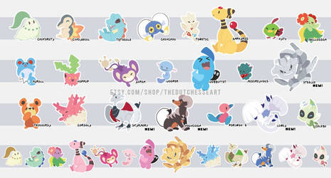 Johto Pokemon Sticker Designs