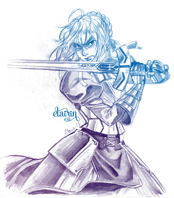 -:- Sketch : Saber -:- by Elairin