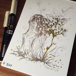 Inktober - Day 07: Shy by Elairin