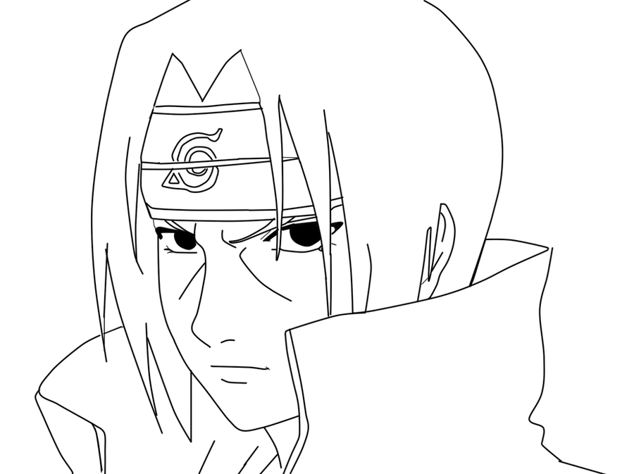 itachi uchiha lineart by misachan23