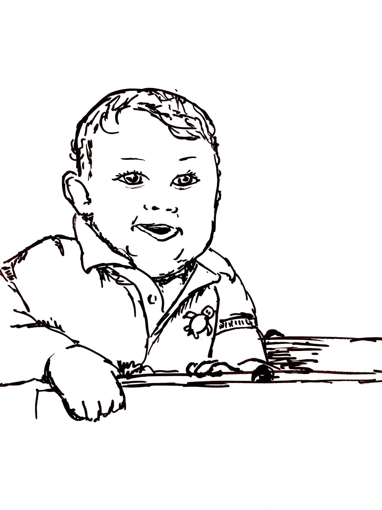 Baby Boy in Shopping Cart Sketch