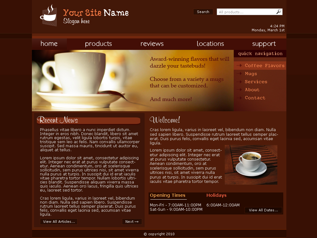 coffee shop web template free free download programs. Black Bedroom Furniture Sets. Home Design Ideas
