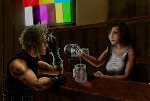 Tifa And Cloud in 7Th Heaven bar by thekingkellogg