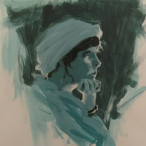 Rim Lit Lady Painting Study 2 by artloadernet