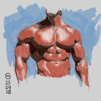 Muscle man torso study by artloadernet