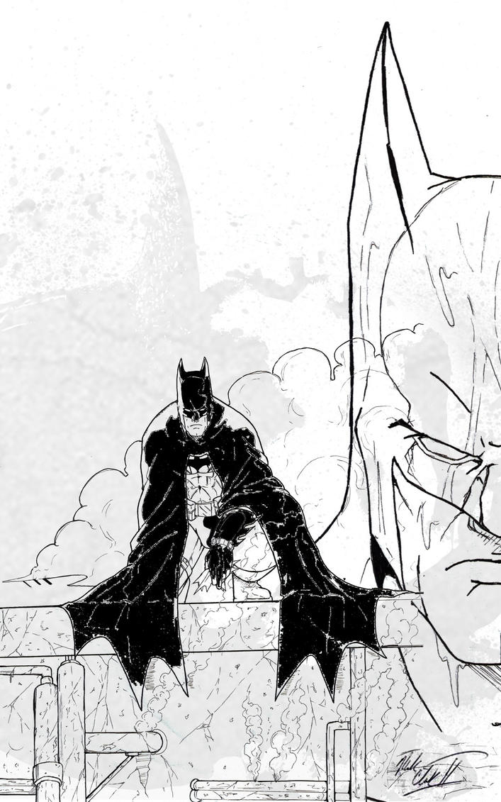 Batman Line Drawing by Mark-Clark-II