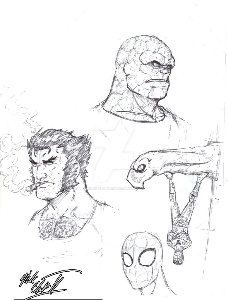 Sketch- Marvel Characters by Mark-Clark-II