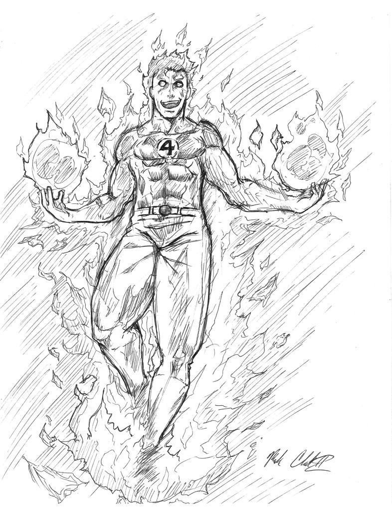 Sketch- Human Torch by Mark-Clark-II