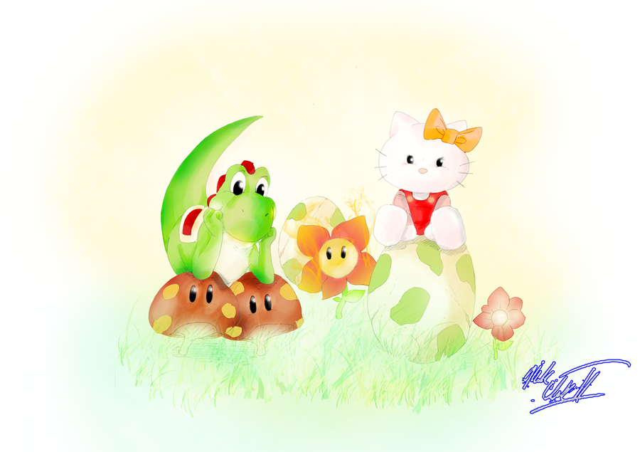 yoshi and hello kitty by Mark-Clark-II