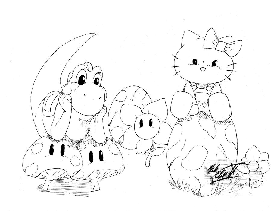 Inked yoshi and Hello Kitty by Mark-Clark-II