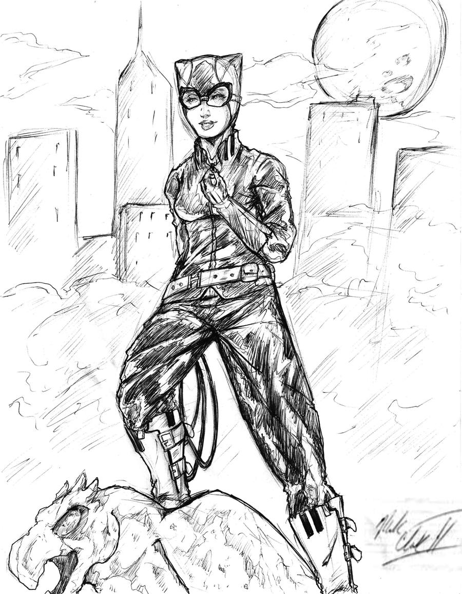 Sketch-Catwoman by Mark-Clark-II