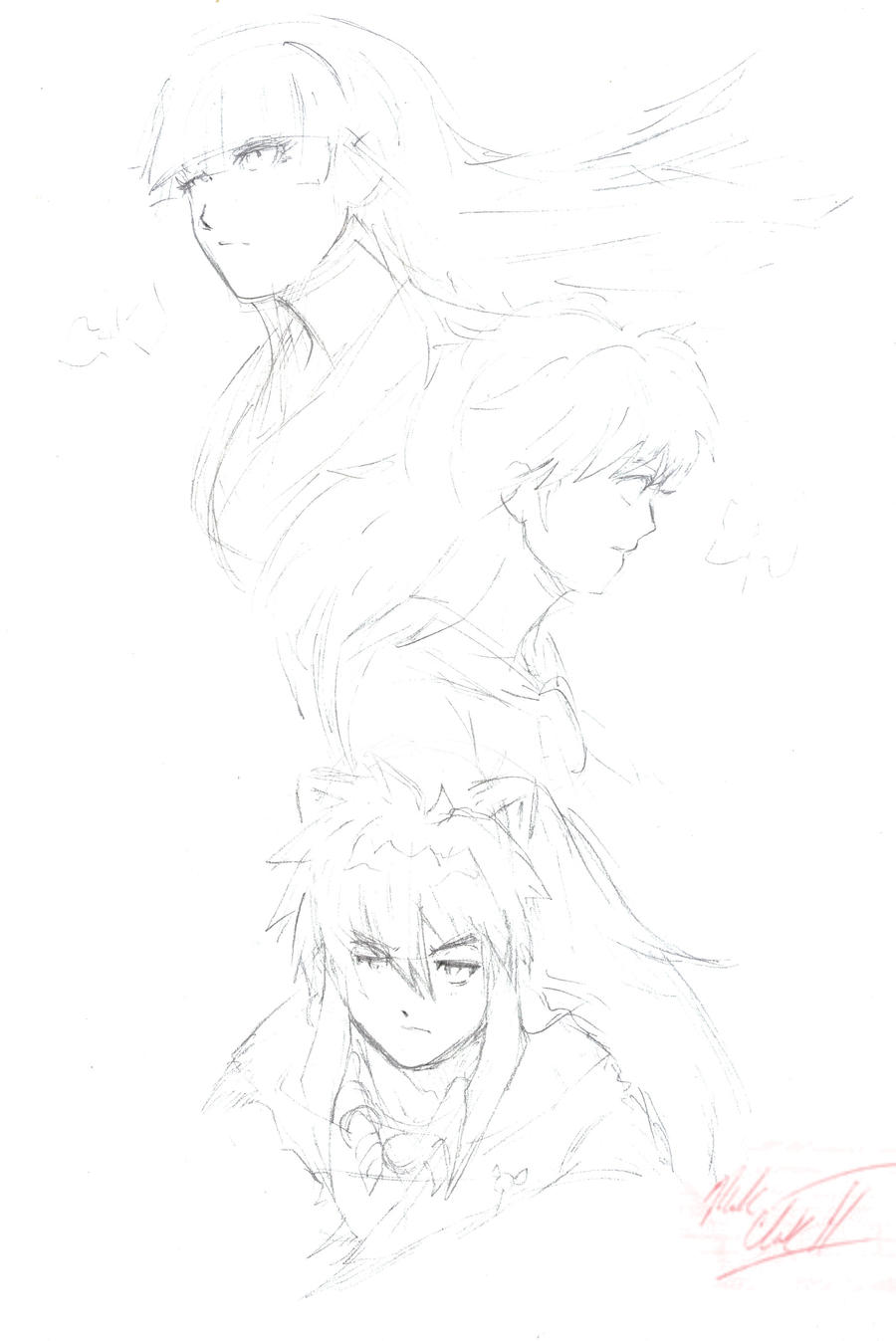 Inuyasha-Portrait sketch by Mark-Clark-II