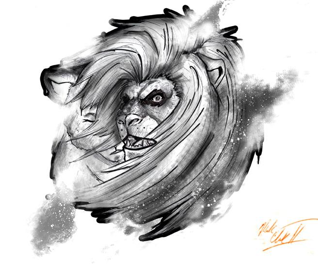 Lion design-BW by Mark-Clark-II