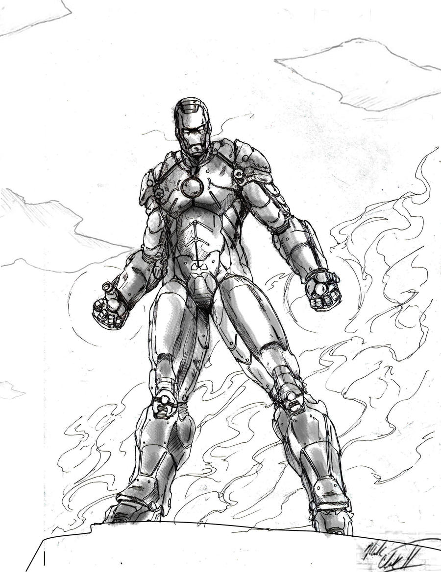 Iron Man Black and White by Mark-Clark-II