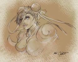 chun-li art by Mark-Clark-II