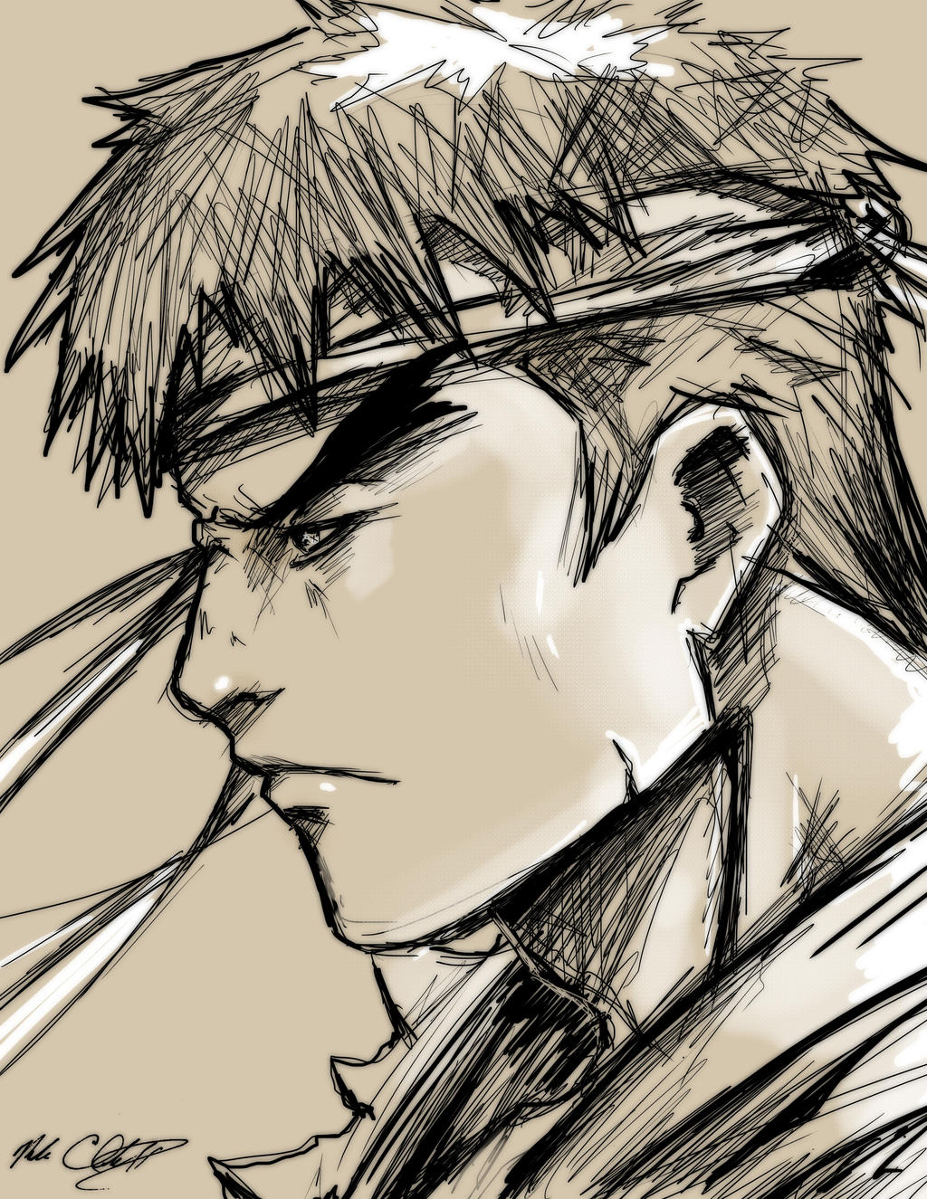 Ryu Sketch by Mark-Clark-II