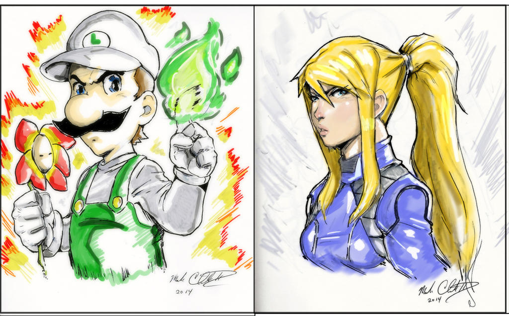 Luigi and Zero Suit samus by Mark-Clark-II