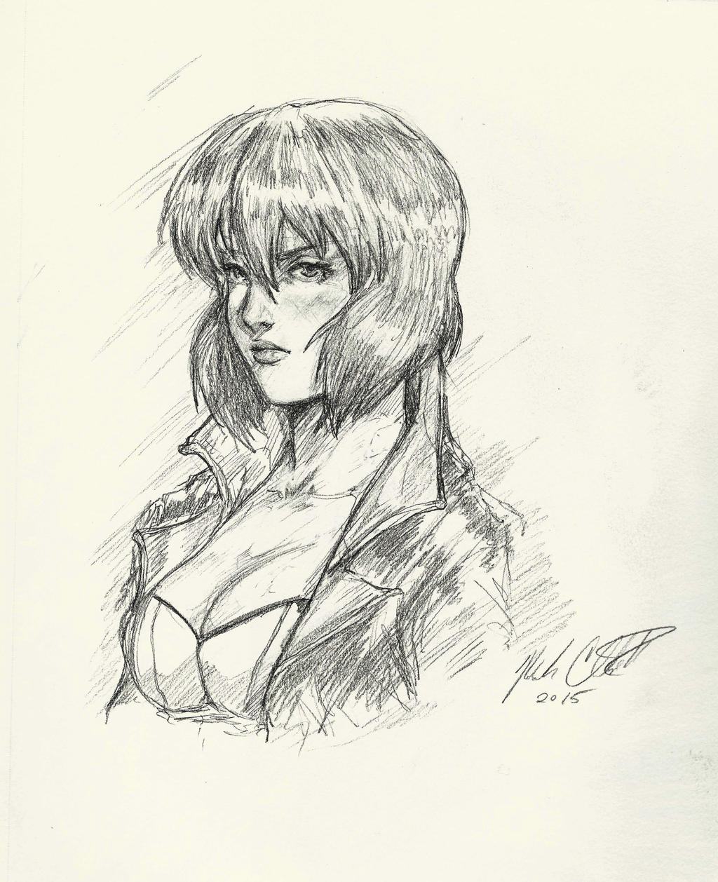 Major Kusanagi -sketch by Mark-Clark-II