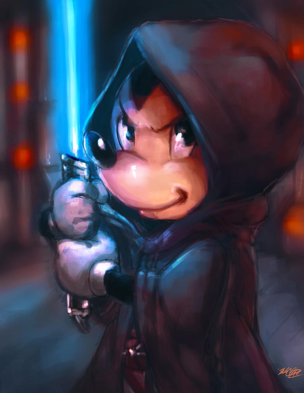 Jedi Mickey painting plus video by Mark-Clark-II