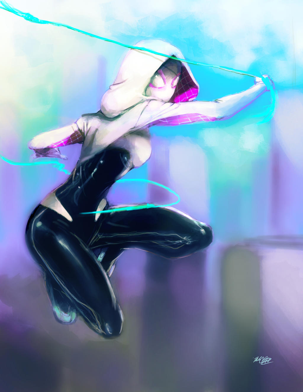Spidergwen painted by Mark-Clark-II