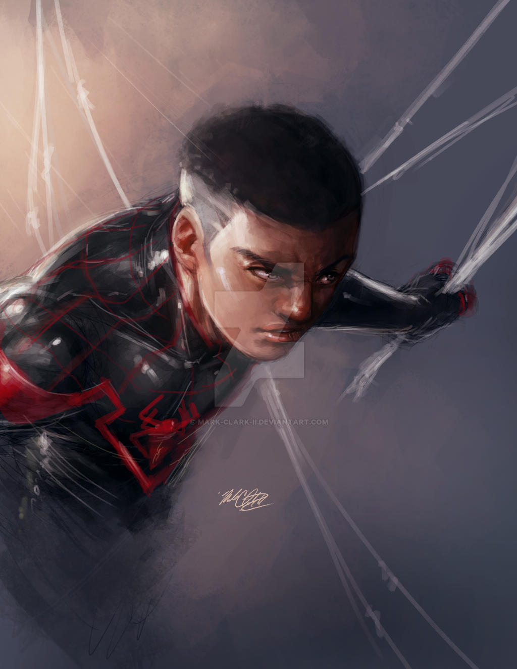 Miles unmasked painting by Mark-Clark-II