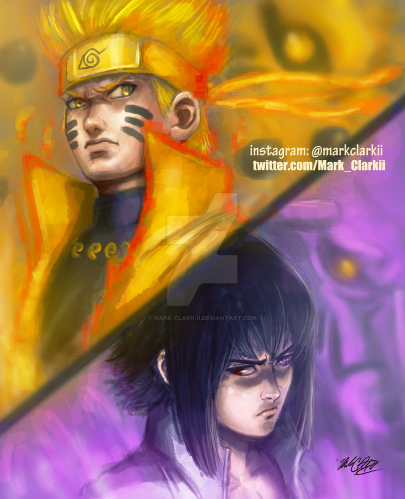 Naruto and Sasuke by Mark-Clark-II