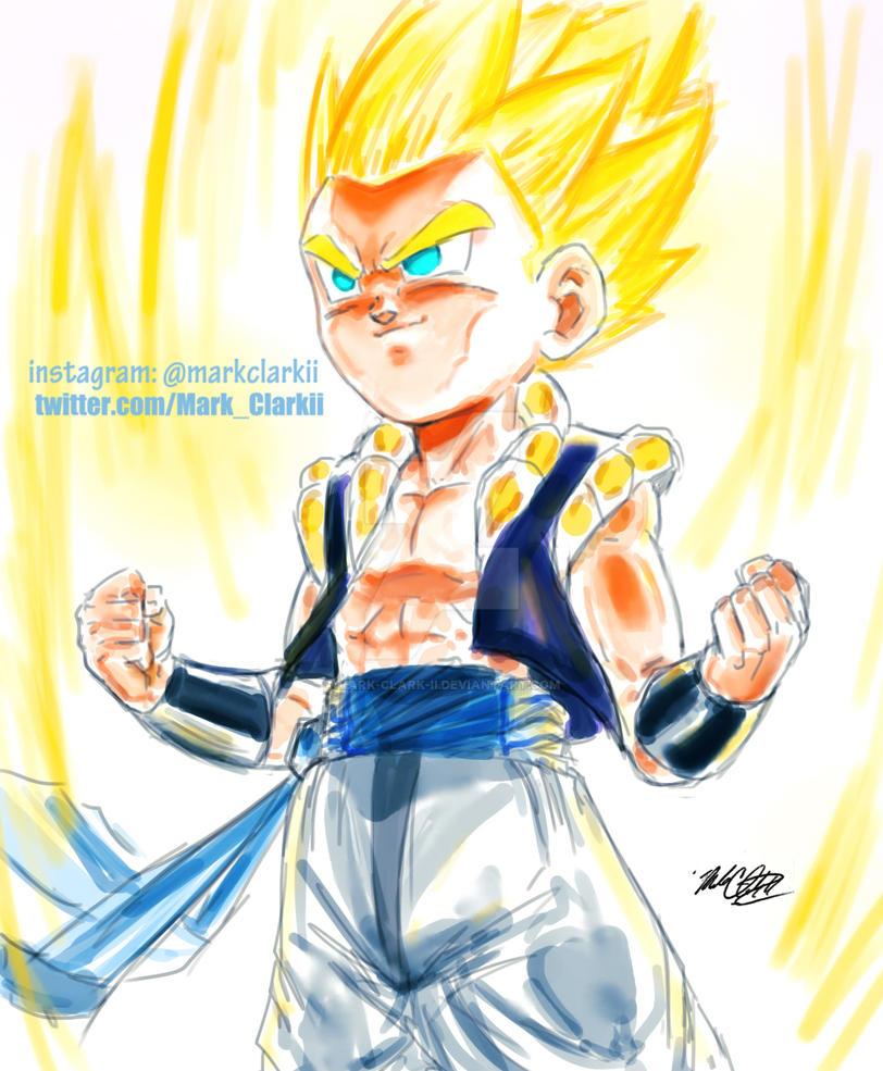 Going Super Saiyan- Gotenks by Mark-Clark-II