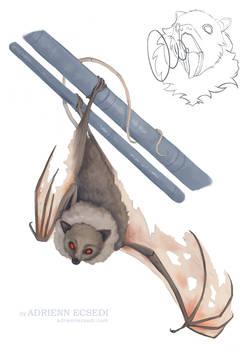 Commission: Bat painting + bat sketch (speedpaint)
