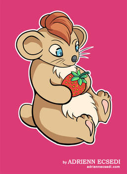 Little hamster with strawberry