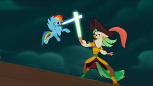 Rainbow Dash Lightsaber Duel by Mega-PoNEO