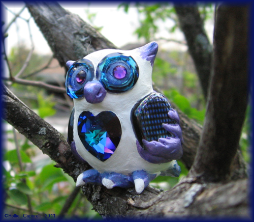 Blue+Purple Crystal Owl Sculpt by HollieBollie