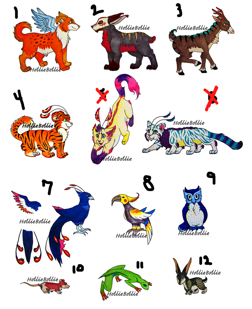 Anime Characters Animals : Variety of adoptable animal characters by holliebollie on