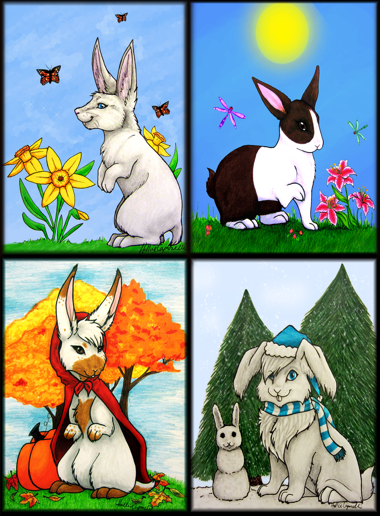 Seasonal Bunnies by HollieBollie